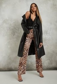 Missguided tan leopard print satin straight leg trousers | 70s style evening glamour