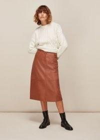 WHISTLES PANELLED LEATHER SKIRT TAN / ligh brown midi skirts