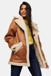TOPSHOP Tan Shearling Car Jacket / light brown faux fur lined coats / sherpa outerwear