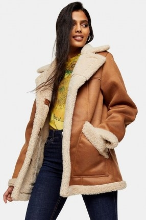 TOPSHOP Tan Shearling Car Jacket / light brown faux fur lined coats / sherpa outerwear - flipped