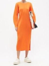 PLEATS PLEASE ISSEY MIYAKE Technical-pleated longline dress / orange dresses / effortless style clothing