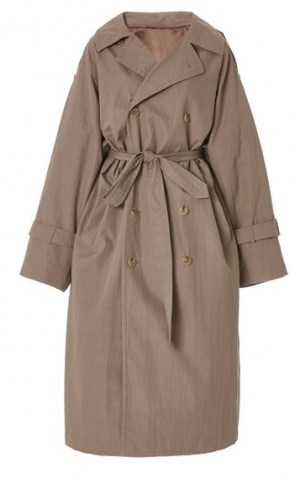 Toteme Techno Cotton Trench Coat ~ classic self tie coats - flipped