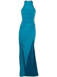 The Attico draped-detailing side-slit evening dress | blue thigh high slit evening dresses