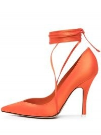 The Attico Ruby satin pumps / bright orange ankle tie court shoes / vibrant high heel courts