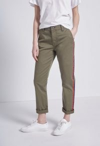 CURRENT/ELLIOTT THE SIDE STRIPE CONFIDANT PANT 0 CLEAN ARMY ~ womens casual green trousers