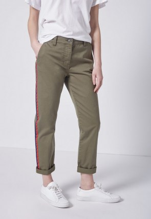 CURRENT/ELLIOTT THE SIDE STRIPE CONFIDANT PANT 0 CLEAN ARMY ~ womens casual green trousers - flipped