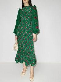 The Vampire's Wife Villanelle floral print midi dress / green puff shoulder dresses