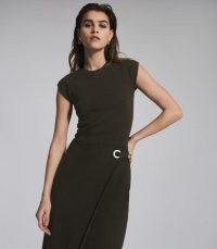 REISS THEA KNITTED BODYCON DRESS GREEN ~ fitted asymmetric front dresses ~ contemporary clothing