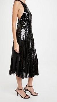 Tibi Eclair Sequin Beading Halter Dress ~ black sequinned cross back dresses