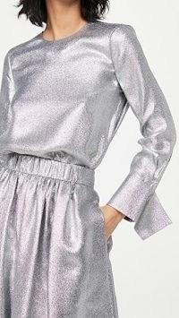 Tibi Flap Cuffs Crew Neck Top / metallic-silver tops