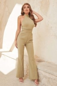 lavish alice tie detail open back jumpsuit in sage green ~ glamorous evening jumpsuits