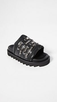Toga Pulla Track Sole Slides / chunky black leather slide