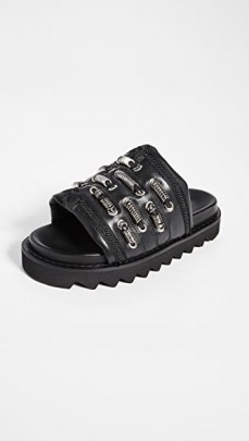 Toga Pulla Track Sole Slides / chunky black leather slide - flipped