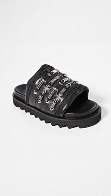 Toga Pulla Track Sole Slides / chunky black leather slide