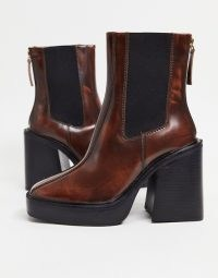 Chunky heeled platform boots | tan brown leather