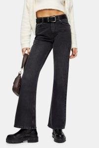 Topshop Two Washed Black 90s Flare Jeans | dark denim flares