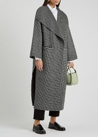 TOTÊME Houndstooth wool and cashmere-blend coat ~ longline oversized lapel coats ~ side slit outerwear