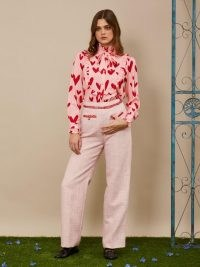sister jane Waltzer Tweed Tailored Trousers ~ pink high waist pants ~ textured fabric
