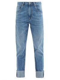 BRUNELLO CUCINELLI Turn-up straight-leg jeans ~ washed blue denim ~ cuffed hems