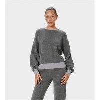 Selena Gomez grey drop shoulder jumper, UGG Renata Cashmere Crew Sweater in Charcoal, picture posted on Reddit, 14 January 2021 | celebrity knitwear | star style jumpers