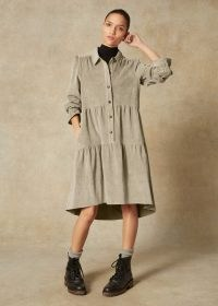Ultimate Drape Superfine Cord Swing Dress in Dusted Sage ~ green tiered corduroy dresses
