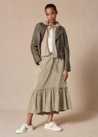meandem Ultimate Drape Superfine Cord Track Skirt ~ sage green tiered hem corduroy skirts ~ me and em fashion