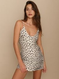REFORMATION Ventura Dress ~ animal print mini slip dresses
