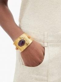 SYLVIA TOLEDANO Venus amethyst cuff / gold tone statement cuffs / luxe jewellery