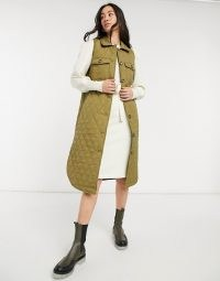 Vero Moda padded longline gilet in khaki ~ green quilted gilets