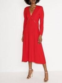 Victoria Beckham chain-detail V-neck midi dress ~ bright red dresses
