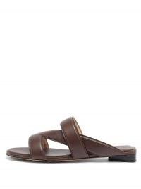 BOTTEGA VENETA Vienna cross-strap brown-leather slides