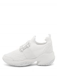 White chunky sneakers / ROGER VIVIER Viv Run crystal-embellished buckled trainers