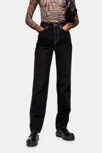 Topshop Washed Black Buckle Carpenter Jeans | dark denim