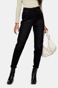 Topshop Washed Black Mom Tapered Jeans