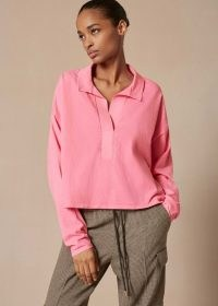 meandem Washed Polo Boxy Top Sugar Pink