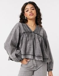 We The Free by Free People charlotte smock top in black washed denim