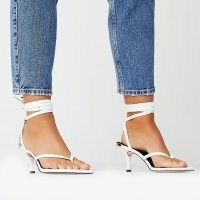RIVER ISLAND White ankle tie kitten heels / toe post sandals