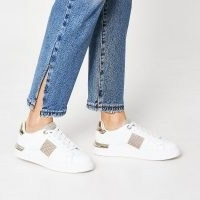 RIVER ISLAND White diamante lace up trainers ~ sports luxe sneakers