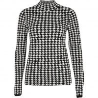 RIVER ISLAND White dogtooth knit high neck top / style essential checked tops
