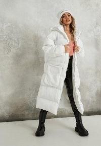 MISSGUIDED white longline utility pocket puffer coat ~ long padded coats ~ oversized pockets
