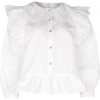 RIVER ISLAND White trim collar peplum shirt ~ lace detailed shirts