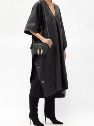 FIL DE VIE Yasmin plunge-neckline leather kaftan ~ contemporary kaftans ~ luxe clothing - flipped