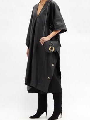 FIL DE VIE Yasmin plunge-neckline leather kaftan ~ contemporary kaftans ~ luxe clothing