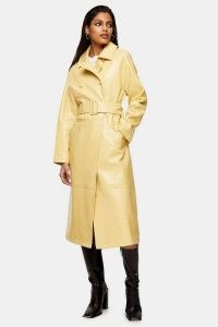 TOPSHOP Yellow Snake Print PU Vinyl Belted Coat ~ faux leather reptile embossed coats ~ animal effect outerwear