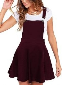 Amazon UK – YOINS Women's Casual Suspender Skirts Basic High Waist Flared Solid Mini Skater Skirt