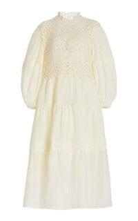 Sea Zandra Crochet-Detailed Cotton-Blend Midi Dress ~ beautiful vintage style balloon sleeve dresses ~ romantic clothing