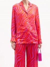 HALPERN Zebra-print satin shirt   retro fashion   bright pink animal print shirts