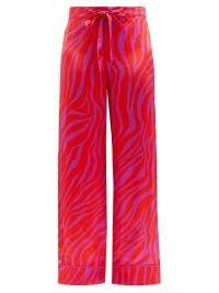 HALPERN Zebra-stripe satin trousers | bright pink retro pants