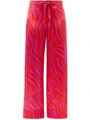 HALPERN Zebra-stripe satin trousers   bright pink retro pants - flipped
