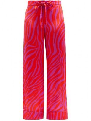 HALPERN Zebra-stripe satin trousers   bright pink retro pants